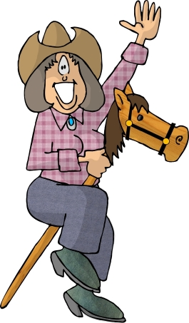 Retirement Jokes Image - A Lady Riding a Stick Poney